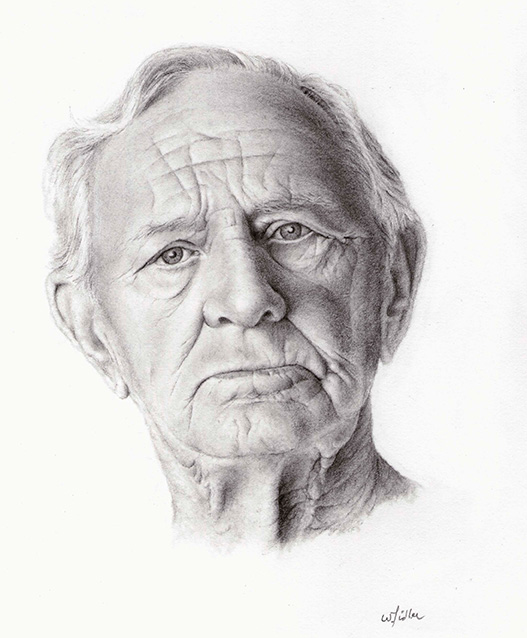 This drawing was done by <b>Bill Fidler</b> in my rough skin portrait Class. - Bill-Fidler-web