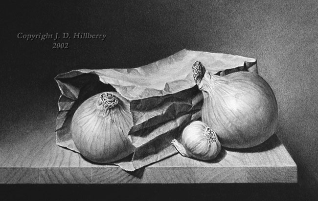 Scribble Drawing Still Life : Onions and garlic original drawing by j d hillberry